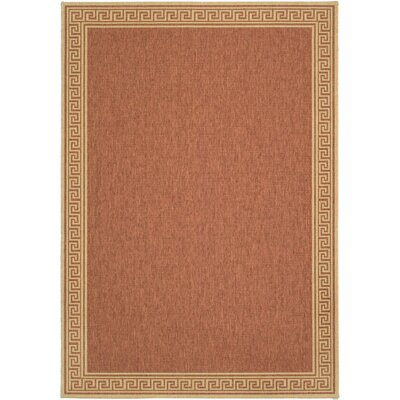 Martha Stewart Byzantium Greek Key Terracotta/Beige Indoor/Outdoor Area Rug Rug Size: Runner 27 x 82