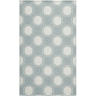 Martha Stewart Puzzle Floral Ivory/Blue Area Rug Rug Size: Rectangle 4 x 6