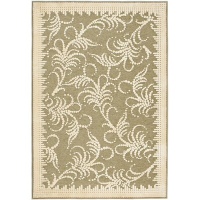 Martha Stewart Fountain Swirl Green/Ivory Area Rug Rug Size: 53 x 76