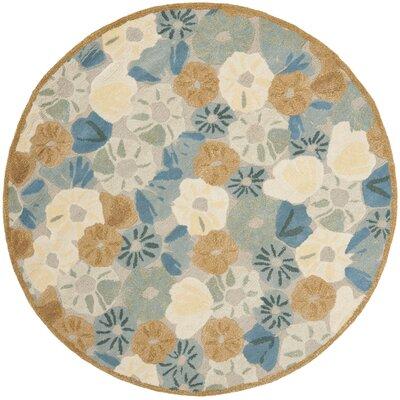 Martha Stewart Cornucopia Bge Blue Area Rug Rug Size: Round 6