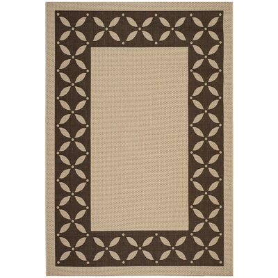 Martha Stewart Mallorca Border Cream & Chocolate Area Rug Rug Size: 53 x 77