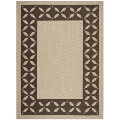 Martha Stewart Mallorca Border Cream & Chocolate Area Rug Rug Size: Rectangle 8 x 112