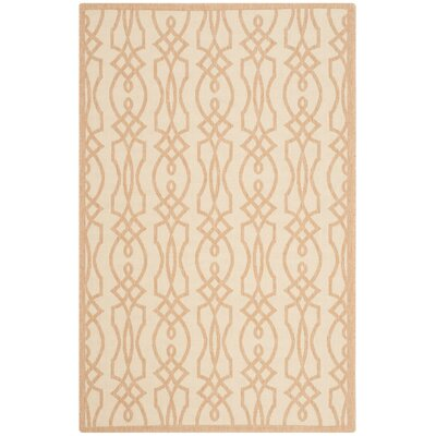 Martha Stewart Villa Screen Tan/Ivory Area Rug Rug Size: 53 x 77