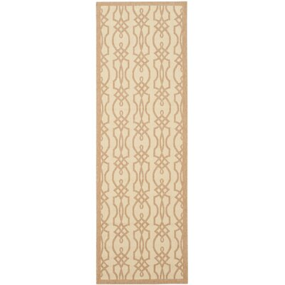 Martha Stewart Villa Screen Tan/Ivory Area Rug Rug Size: Runner 27 x 82