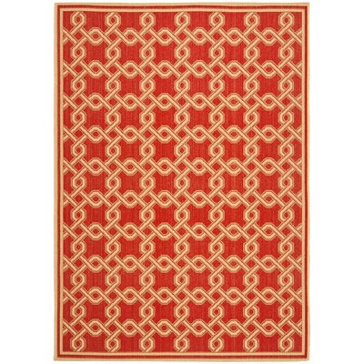 Martha Stewart Red/Creme Area Rug Rug Size: 53 x 77