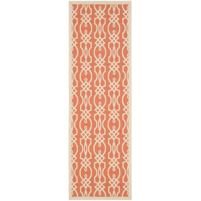 Martha Stewart Villa Screen Orange/Beige Area Rug Rug Size: Rectangle 27 x 5