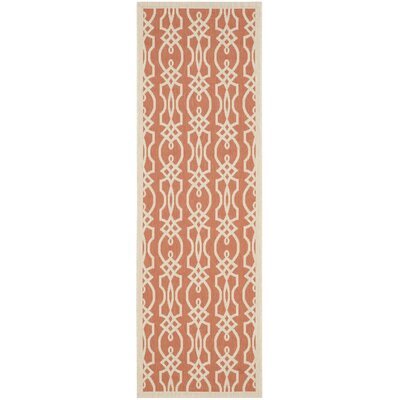 Martha Stewart Villa Screen Orange/Beige Area Rug Rug Size: Runner 27 x 82