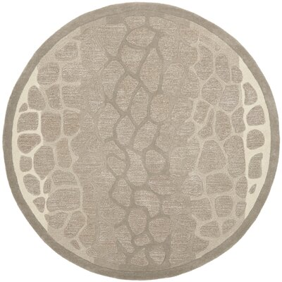 Martha Stewart B Wheat F Sharkey Gray Area Rug Rug Size: Round 6