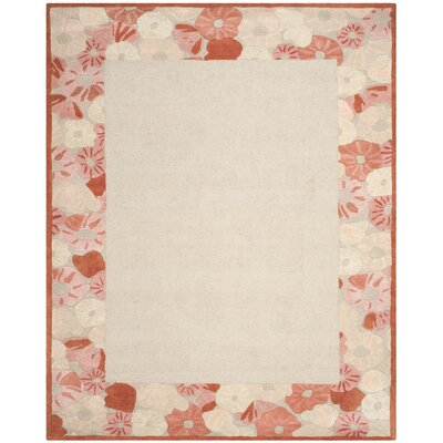 Poppy Border Hand-Tufted Cayenne Red Area Rug Rug Size: Rectangle 96 x 136