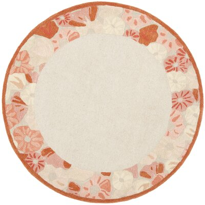 Poppy Border Hand-Tufted Cayenne Red Area Rug Rug Size: Round 6