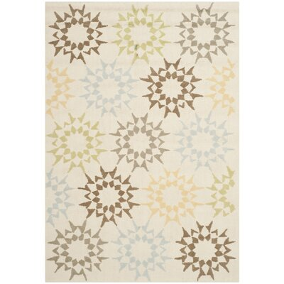 Martha Stewart Hand-Hooked Cotton Creme Area Rug Rug Size: Rectangle 9'6