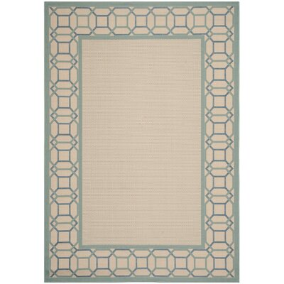 Martha Stewart Facet Border Tan/Yucca Plant Area Rug Rug Size: Rectangle 53 x 77