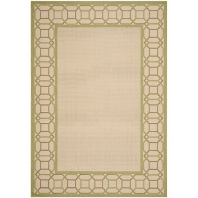 Martha Stewart Facet Border Beige/Beach Grass Area Rug Rug Size: 53 x 77