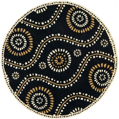 Martha Stewart Tufted / Hand Loomed Black Area Rug Rug Size: Round 4'