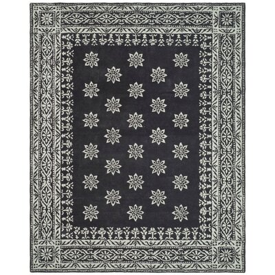 Martha Stewart Gracious Garden Hand Loomed Black and Ivory Area Rug Rug Size: 4 x 6