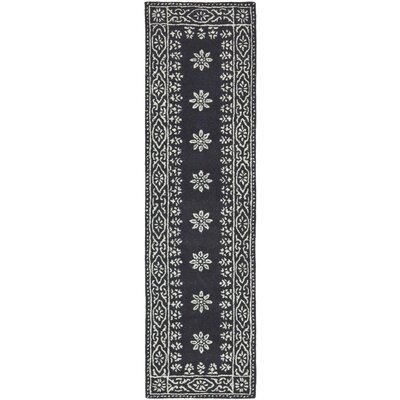 Martha Stewart Gracious Garden Hand Loomed Black and Ivory Area Rug Rug Size: Runner 23 x 8