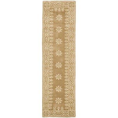 Martha Stewart Gracious Garden Hand Loomed Gold Area Rug Rug Size: Runner 23 x 8