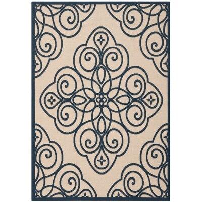 Martha Stewart Rosamond Navy/Beige Area Rug Rug Size: Rectangle 53 x 77