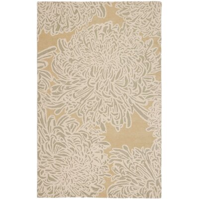 Martha Stewart Chrysanthemum Tufted / Hand Loomed Area Rug Rug Size: Round 4
