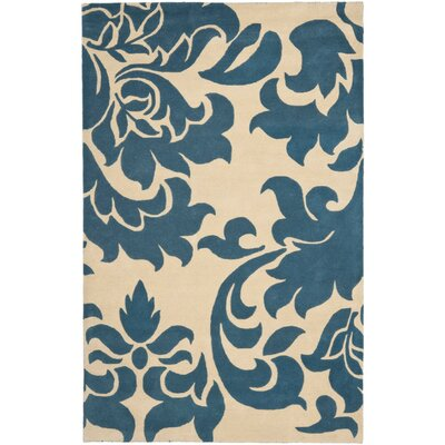 Martha Stewart Barcelona Tufted / Hand Loomed Blue/Beige Area Rug Rug Size: Runner 23 x 8