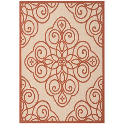 Martha Stewart Rosamond Red/Ivory Area Rug Rug Size: Rectangle 4 x 57