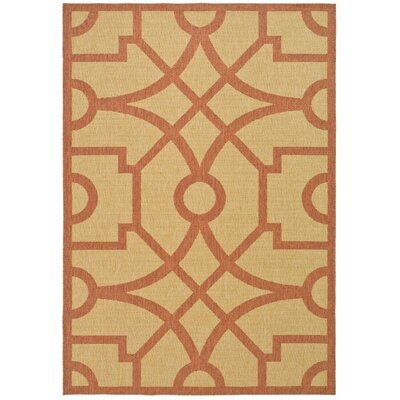 Martha Stewart Fretwork Beige / Terracotta Area Rug Rug Size: Rectangle 27 x 5