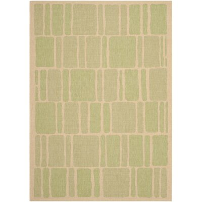 Martha Stewart Blocks Green/Beige Area Rug Rug Size: Runner 27 x 82