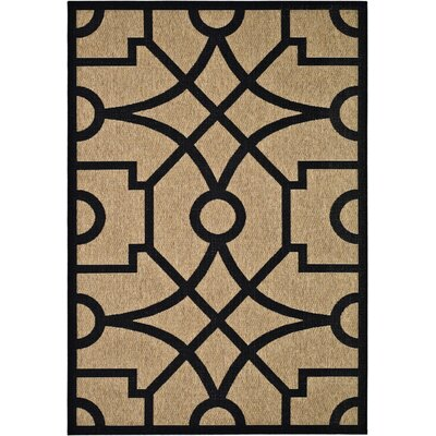Martha Stewart Fretwork Tan/Black Area Rug Rug Size: Rectangle 53 x 77