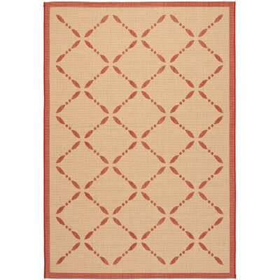 Martha Stewart Creme/Red Area Rug Rug Size: Rectangle 27 x 5