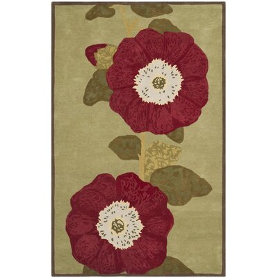 Martha Stewart Hand-Tufted Dill/Red Area Rug Rug Size: 9 x 12