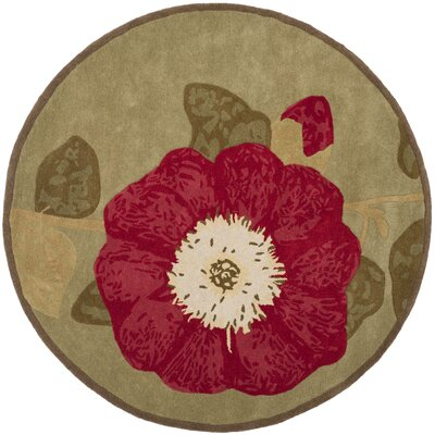Martha Stewart Hand-Tufted Dill/Red Area Rug Rug Size: Round 4