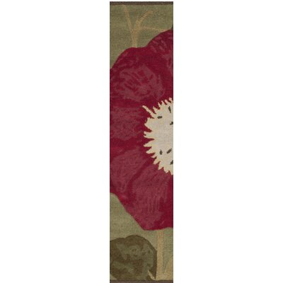 Martha Stewart Hand-Tufted Dill/Red Area Rug Rug Size: Runner 23 x 10