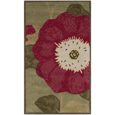 Martha Stewart Hand-Tufted Dill/Red Area Rug Rug Size: 4 x 6