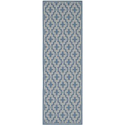 Martha Stewart Beige/Blue Area Rug Rug Size: Runner 27 x 82