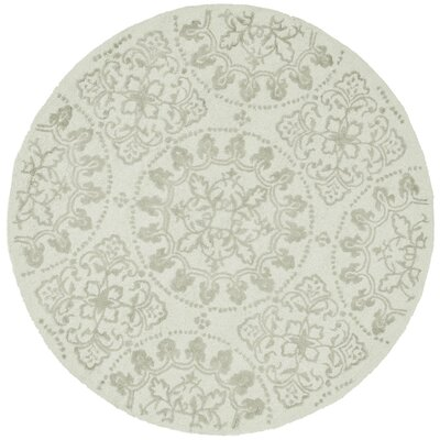 Martha Stewart Hand-Tufted Cotton Shale Area Rug Rug Size: Round 4
