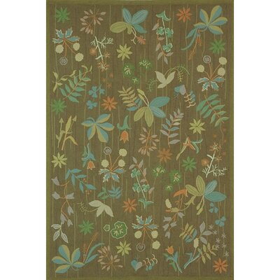 Grove Twig Green Floral Area Rug Rug Size: Rectangle 26 x 43