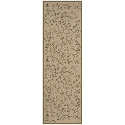 Swirling Garden Cream / Green Area Rug Rug Size: Runner 27 x 82