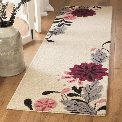 Hand-Tufted Ivory Area Rug Rug Size: Runner 23 x 8