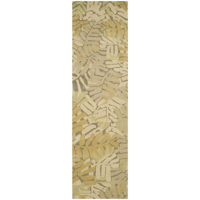 Palm Leaf Hand-Loomed Oolong Tea Area Rug Rug Size: Runner 23 x 8