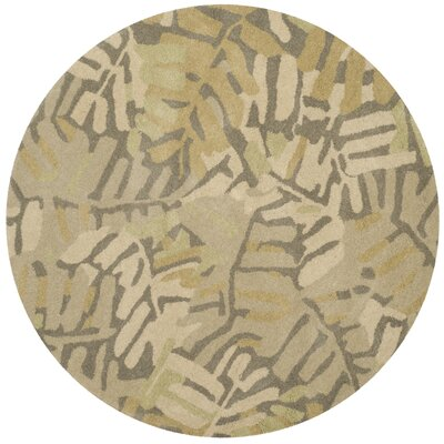Palm Leaf Hand-Loomed Oolong Tea Area Rug Rug Size: Round 4 x 4