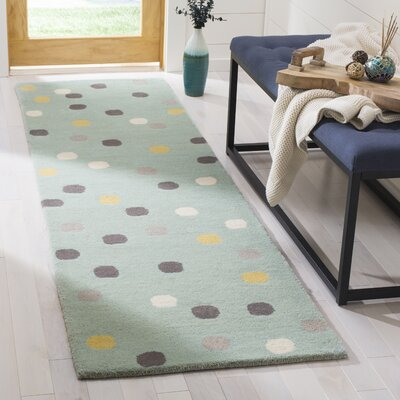 Confetti Tufted-Hand-Loomed Blue/Gray/Yellow Area Rug Rug Size: Runner 23 x 8