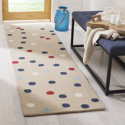 Confetti Tufted-Hand-Loomed Beige/Red Area Rug Rug Size: Runner 23 x 8