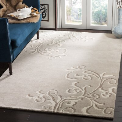 Martha Stewart Avalon Vine Tufted / Hand Loomed Gray/Beige Area Rug Rug Size: Rectangle 8 x 10