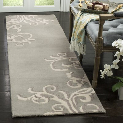 Avalon Vine Hand-Loomed Aqua/Ivory Area Rug Rug Size: Rectangle 9 x 12