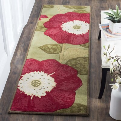 Martha Stewart Hand-Tufted Dill/Red Area Rug Rug Size: Rectangle 4 x 6