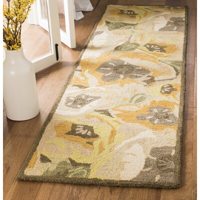 Hand-Tufted Gold Area Rug Rug Size: Runner 23 x 8