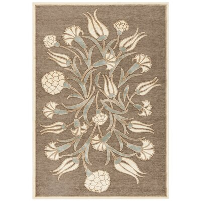 Floral Arabesque Hand-Loomed Brown Area Rug Rug Size: Rectangle 4 x 57
