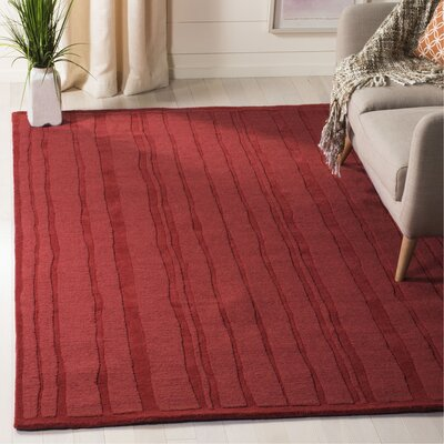 Freehand Stripe Hand-Loomed Vermillon Area Rug Rug Size: Rectangle 5 x 8