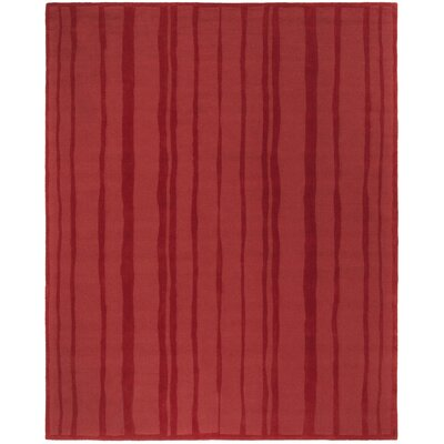 Freehand Stripe Hand-Loomed Vermillon Area Rug Rug Size: Rectangle 8 x 10