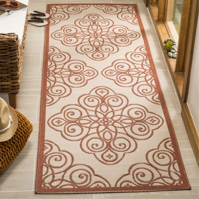 Martha Stewart Rosamond Red/Ivory Area Rug Rug Size: Rectangle 26 x 82